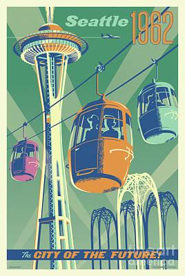 City Center Digital Art - Seattle Space Needle 1962 - Alternate by Jim Zahniser