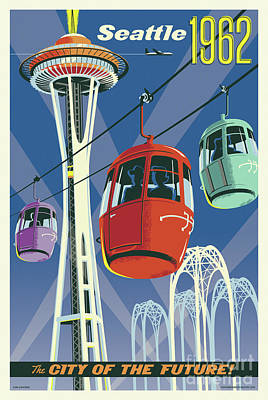 Northwest Digital Art - Seattle Space Needle 1962 by Jim Zahniser