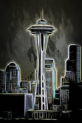 Mixed Media - Seattle Space Needle 2 by Aaron Berg