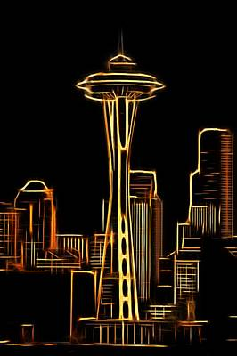 Mixed Media - Seattle Space Needle 3 by Aaron Berg