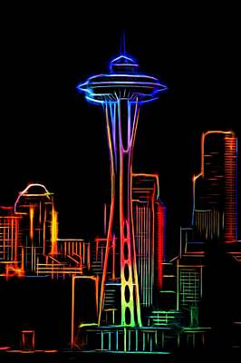 Skylines Mixed Media - Seattle Space Needle 4 by Aaron Berg