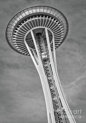 Photograph - Seattle Space Needle Bw by Jerry Fornarotto
