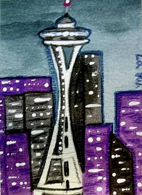 Painting - Seattle Space Needle Cityscape by Monica Resinger