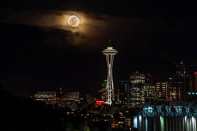 Eclipse Photograph - Seattle Space Needle Full Moon Rising by Mike Reid