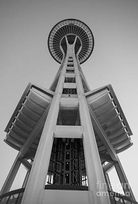 Photograph - Seattle Space Needle In Black And White by Patrick Fennell
