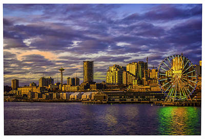 Sunset Photograph - Seattle Space Needle by Marci Potts
