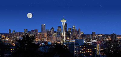 Seattle Skyline Photograph - Seattle Space Needle Skyline by Doug Oriard