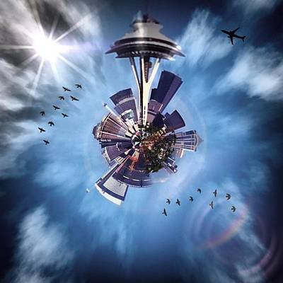 Downtown Wall Art - Photograph - Seattle Space Needle Tiny Planet by Joan McCool
