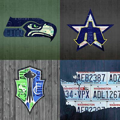 Seattle Sports Team License Plate Art Washington Map Seahawks Mariners Sounders Art Print