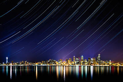 Startrails Photograph - Seattle Stars by Victor Dallons