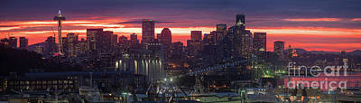 The Link Photograph - Seattle Sunrise Fiery Winter Skies Panorama by Mike Reid