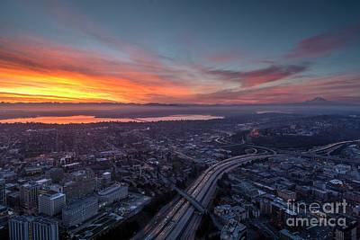Photograph - Seattle Sunrise From The Columbia Center by Mike Reid