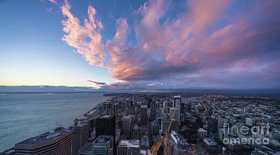 Photograph - Seattle Sunset Cloudscape From Above by Mike Reid