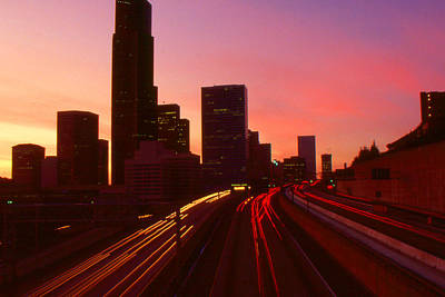 Photograph - Seattle Sunset Skyline by Peter Potter