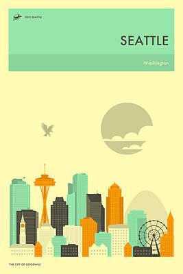 Seattle Skyline Digital Art - Seattle Travel Poster by Jazzberry Blue