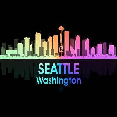 Digital Art - Seattle Wa 5 Squared by Angelina Vick