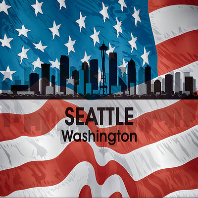 Digital Art - Seattle Wa American Flag Squared by Angelina Vick