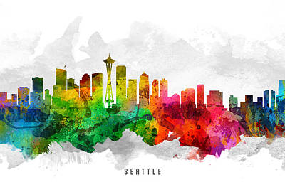 Seattle Skyline Painting - Seattle Washington Cityscape 12 by Aged Pixel