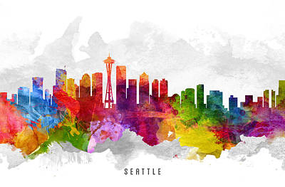 Skylines Paintings - Seattle Washington Cityscape 13 by Aged Pixel