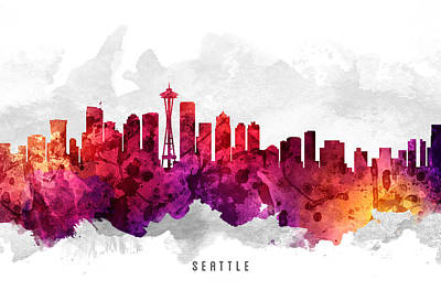 Seattle Skyline Painting - Seattle Washington Cityscape 14 by Aged Pixel