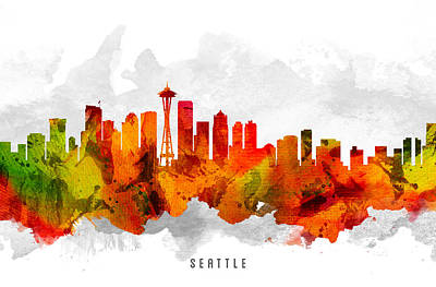 Seattle Skyline Painting - Seattle Washington Cityscape 15 by Aged Pixel