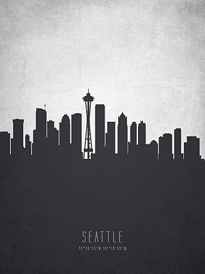 Seattle Skyline Painting - Seattle Washington Cityscape 19 by Aged Pixel