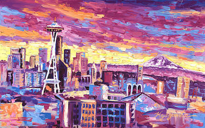 Seattle Washington Skyline 01 Original by Paul Kyegombe
