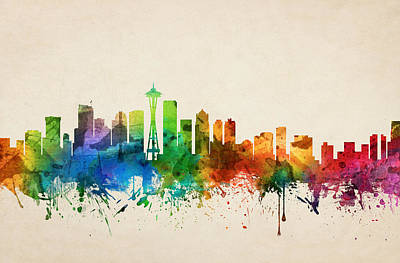 Seattle Skyline Painting - Seattle Washington Skyline 05 by Aged Pixel