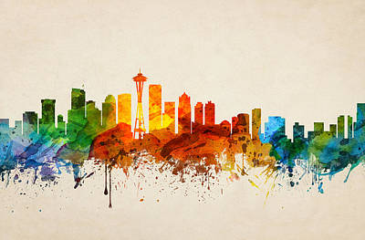 Skylines Paintings - Seattle Washington Skyline 16 by Aged Pixel
