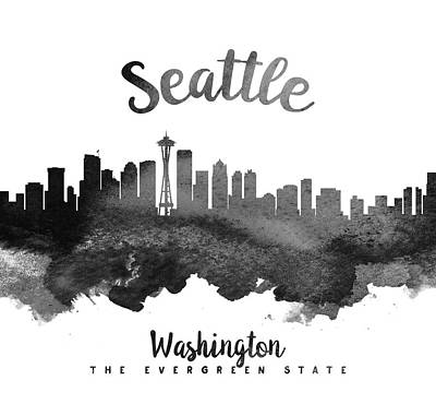 Seattle Skyline Painting - Seattle Washington Skyline 18 by Aged Pixel