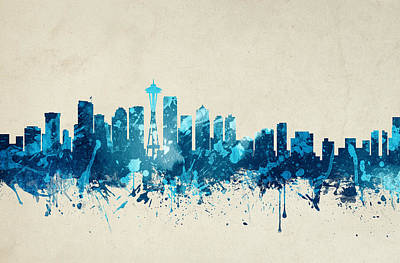 Skylines Paintings - Seattle Washington Skyline 19 by Aged Pixel
