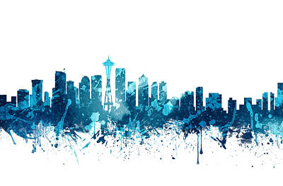 Skylines Paintings - Seattle Washington Skyline 20 by Aged Pixel