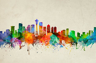 Seattle Skyline Painting - Seattle Washington Skyline 21 by Aged Pixel