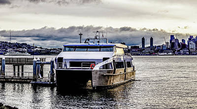 Photograph - Seattle Washington Skyline With Harbor View And Ferry by Alex Grichenko