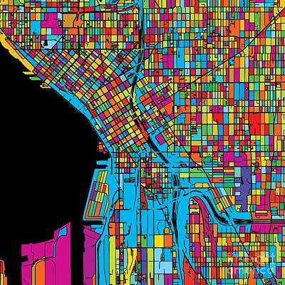 Seattle, Washington, Usa, Colorful Map Original