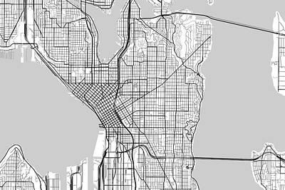 Seattle Digital Art - Seattle Washington Usa Light Map by Jurq Studio