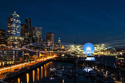 Seattle Waterfront Photograph - Seattle Waterfront Cosmic Rays by Pelo Blanco Photo