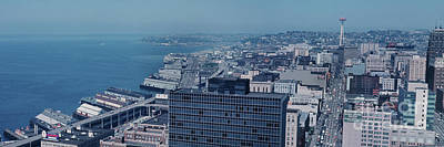 Photograph - Seattle Waterfront From Smith Tower To The Space Needle 1966 by California Views Mr Pat Hathaway Archives