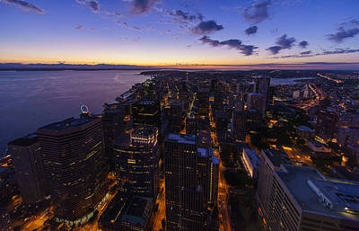 Photograph - Seattles Dusk City Landscape by Mike Reid