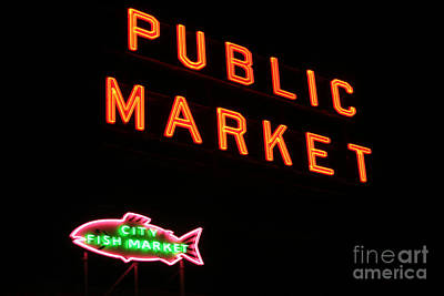 Seattles Public Market Art Print by Robert Torkomian