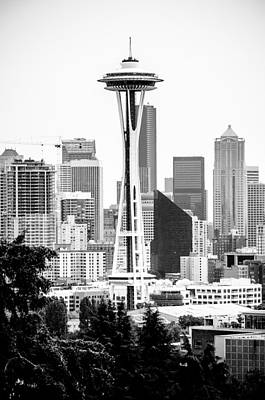 Photograph - Seattle's Space Needle In Black And White by Anthony Doudt