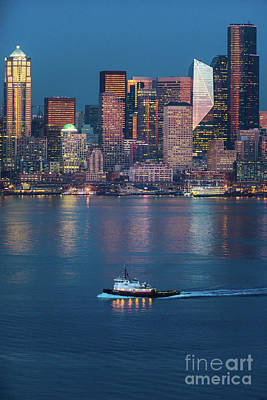 Photograph - Seattles Working Waterfront At Dusk by Mike Reid