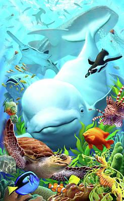 Whale Digital Art - Seavilians 2 by Jerry LoFaro