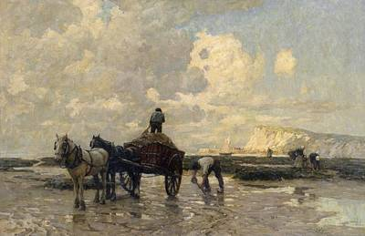 Shire Horse Painting - Seaweed Gatherers by Terrick Williams