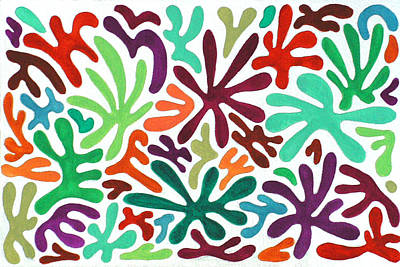 Seaweed Splash Colorful Abstract Gouache Painting Green Red Orange Brown Blue Art Print by Wendy Middlemass