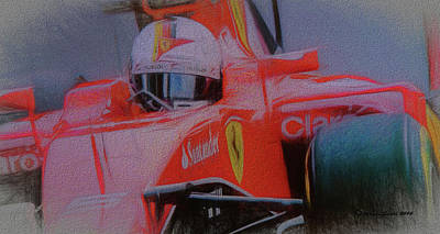 Circuit Mixed Media - Sebastian Vettel by Marvin Spates