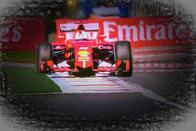 Circuit Mixed Media - Sebastian Vettel's Ferrari by Marvin Spates