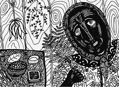 Naive Cartoon Drawing - Sebastiana by Sarah Loft