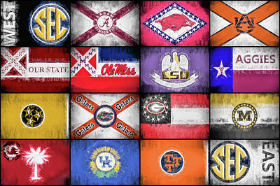 University Of Arkansas Wall Art - Digital Art - Sec Flags by JC Findley