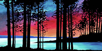 Wall Art - Painting - Sechelt Sunset  by Alison Newth